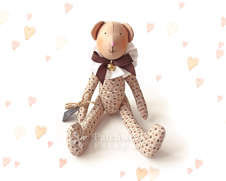 Teddy Bear, Nougat, Textile Toy, Patchwork Hobby Art