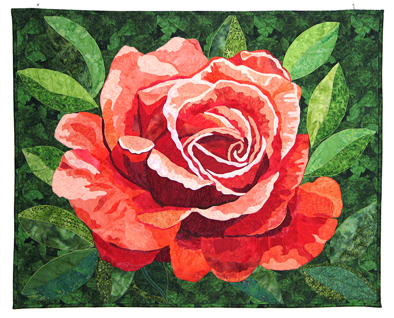 Nástenný quilt Ruža, šité technikou patchwork
