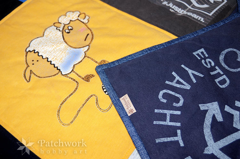 Deka z tričiek, detail, firemná nášivka